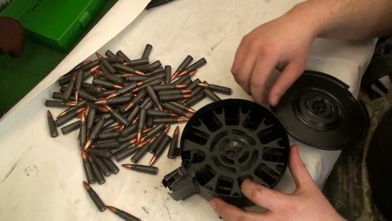 75-ranný buben na AK-47 Kalaschnikov plnění nabíjení