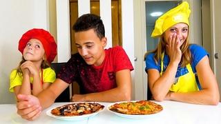 Битва поваров Как Настя с Инной накормили Сашу Желтое против Красного Пицца ЧЕЛЛЕНДЖ