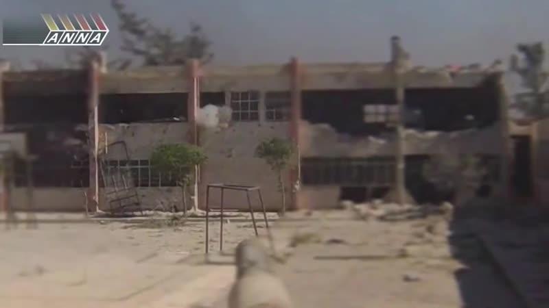 Сирия. Дуэль танкиста и боевика.Бой за школу в Джобаре. Syria. Jobar.Tanker vs militant duel