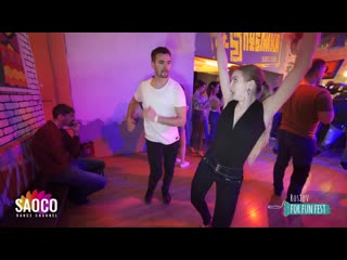 Aram Gulledge and Nika Volodina Salsa Dancing at Rostov For Fun Fest (Russia), Monday  (SC)