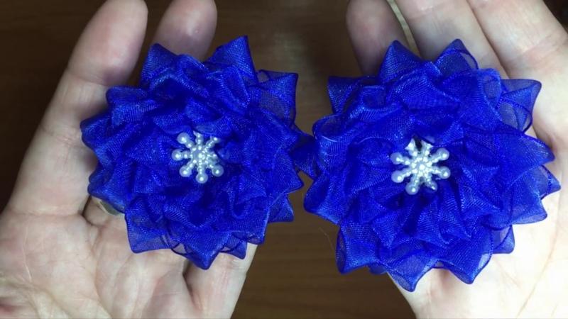 Простые цветы из узкой органзы Kanzashi Для дочки в школу