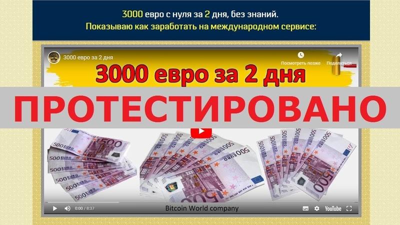 Компания Bitcoin World и Александр Соловьёв помогут зарабатывать 3000 евро за 2 дня? Честный отзыв.