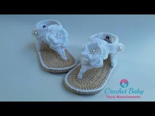 Sandálinha SAMIRA de Crochê - Tamanho 09 cm - Crochet Baby Yara Nascimento