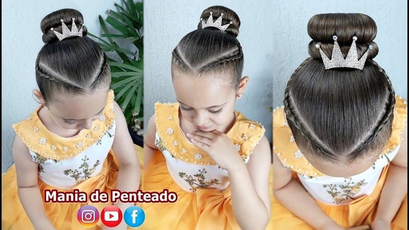 Penteado Infantil com Tranças Inversas e Coque Bun Hairstyle with Braids👸