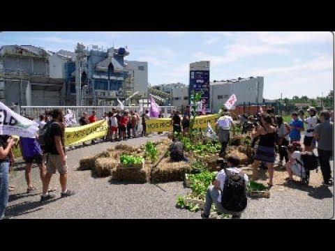 G7 Des militants bloquent une usine Bayer Monsanto (23 août 2019, Peyrehorade, France)