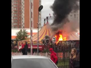 """Пожар у цирка в парке """"Малыш"""" в Одинцово"""