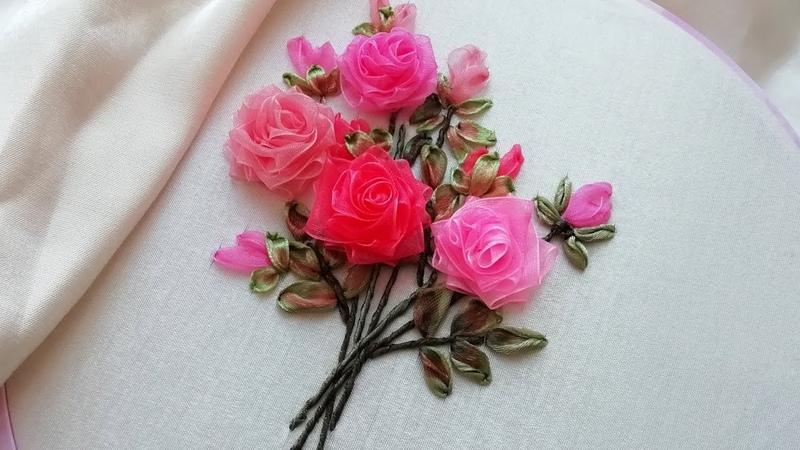 How To Make Easy Ribbons Flower Roses * Amazing Ribbon Flower Work malina_gm