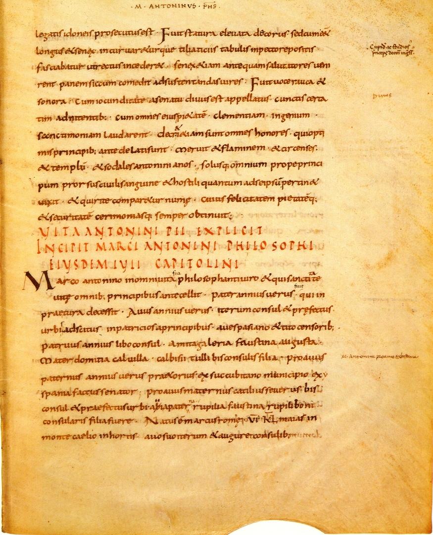 Рукопись SHA: начало биографии Марка Аврелия (первая половина IX века).