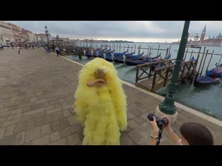 Backstage shooting yellow dress in venice