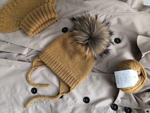 Идеальная вязаная детская шапкашапка с ушками и завязками.