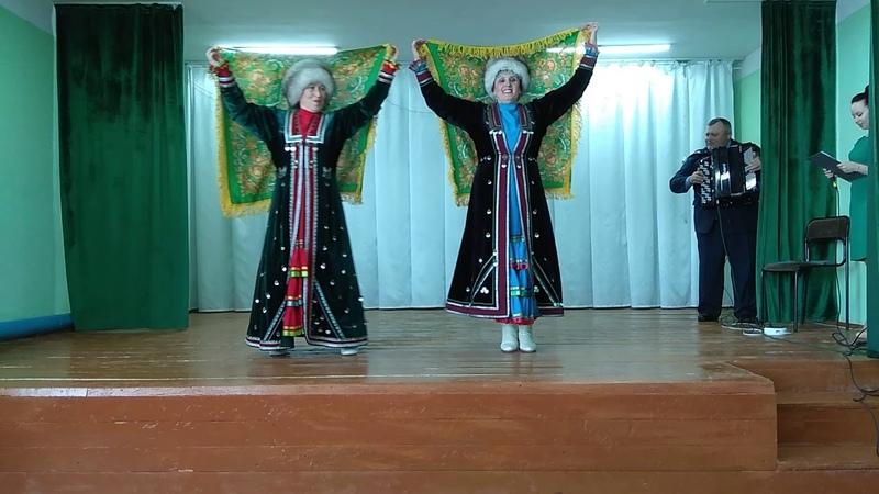 Концерт в сельском клубе 29 марта. Башкирский танец в исполнении Салимгареевой Н. и Хафизовой Л.