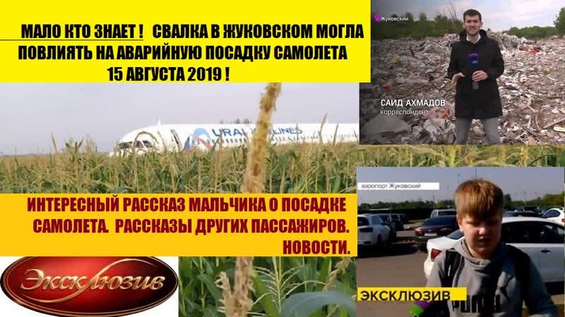 Аварийная посадка самолета 15 августа 2019. Свалка в Жуковском повлияла на это!
