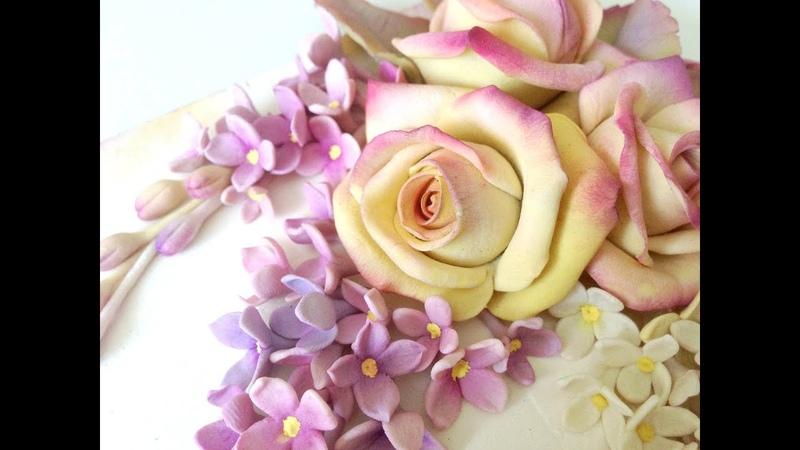 Соленое тесто Панно с сиренью и розами МК 2 часть Сборка композиции