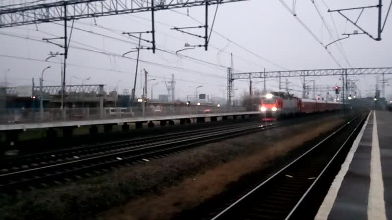 ЭП20-012 со скорым фирменным поездом № 001А/002А «Красная стрела» проносится мимо станции «НАТИ»