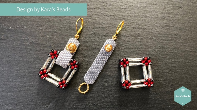 Orient Express Charm Tutorial Beaded Interchangeable Earrings CRAW Bugles Toho Miyuki Beads