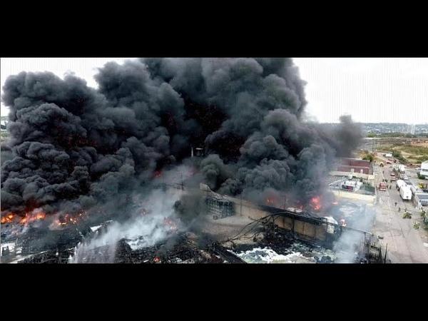 Rouen : l'incendie de l'usine Lubrizol filmé par un drone