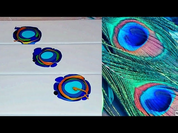 145 Dutch Pour Triptych Peacock Colors Acrylic Pouring