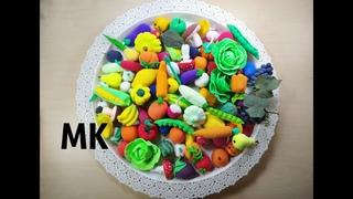 Овощи и фрукты,  грибы, своими руками, лепка с детьми, овощи и фрукты из воздушного пластилина
