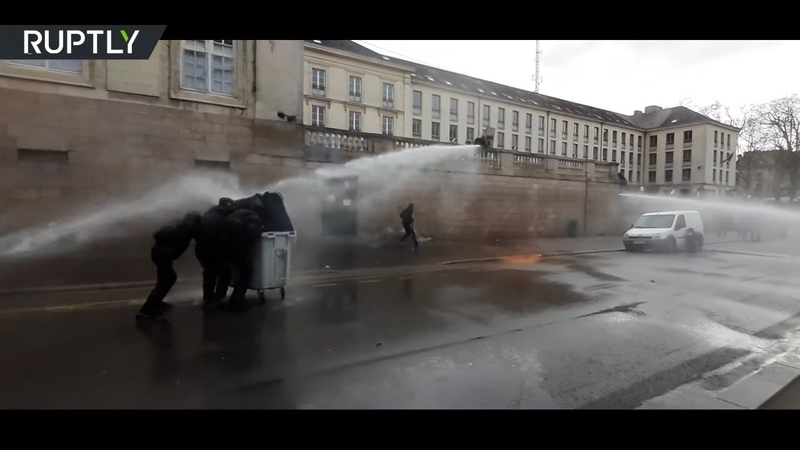 Anti govt protesters get doused by water cannons in Nantes