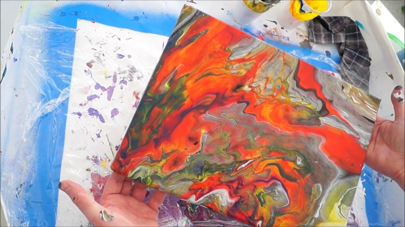 Flüssige Malerei! Acrylfarben Eingießen | Einfach für Anfänger! Abstrakt!
