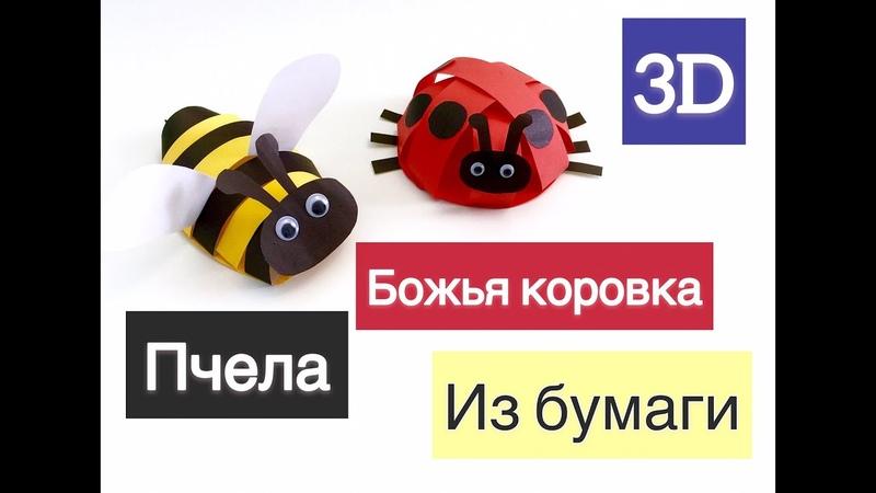 Поделка божья коровка и пчела из бумаги. Объемные поделки.