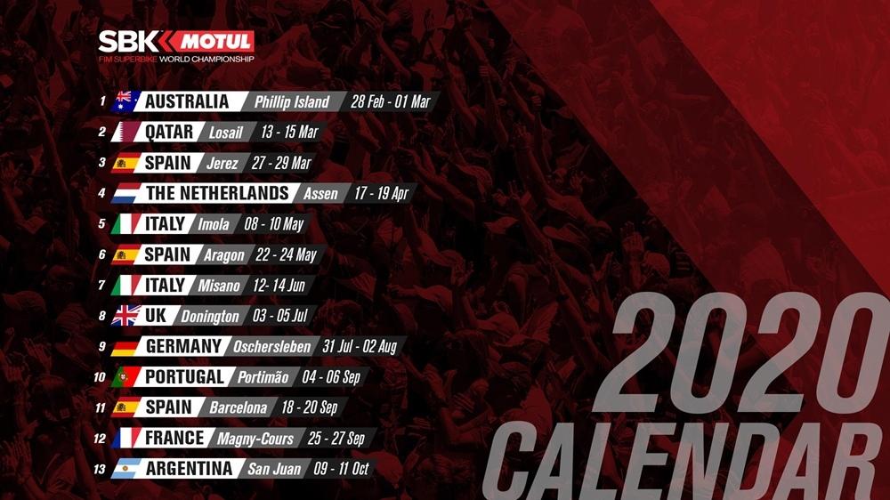 Календарь чемпионата мира WSBK 2020