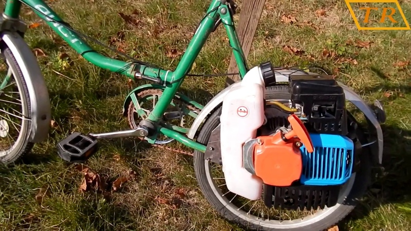 Homemade TRIMMER BIKE/Мопед из мотокосы и велосипеда