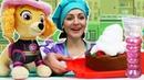 Видео про игры для детей в слаймы и готовку. Готовлю игрушкам Щенячий Патруль - Пирог для Скай!
