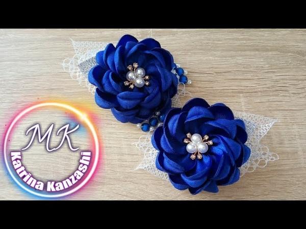 Зимние цветы из атласной ленты канзаши МК Flores de inverno de fitas de cetim kanzashi MK