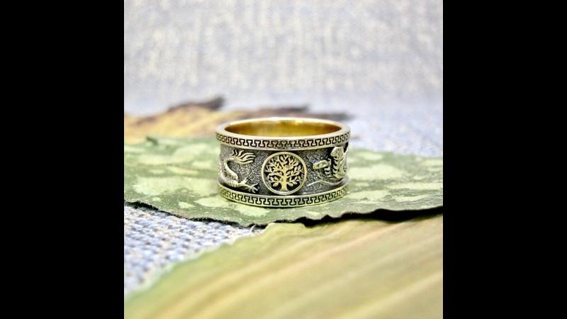 Обручальное кольцо Дракон Феникс Солнце и Древо жизни video 17 10 21 08 50 1