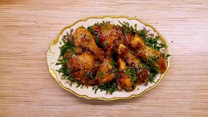 Курица в медово-соевом маринаде, запеченная в духовке
