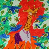 "Картина ""Жираф в листве"", 2016 г."
