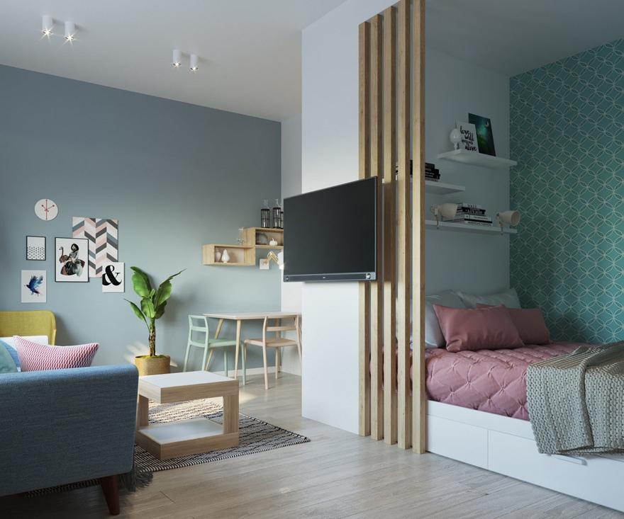 Проект квартиры 31 м с разворотом кухни.
