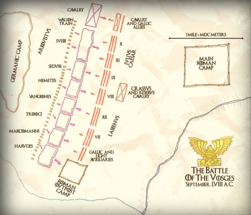 Собственно, битва при Вогезах. Свежепостроенный лагерь находится на левом фланге римлян. Но на самом деле карта, диспозиция и даже само название битвы очень условны. Мы банально, например, не знаем где она происходила: есть примерно десяток возможных мест по руслу Рейна, которые подходят под описание.