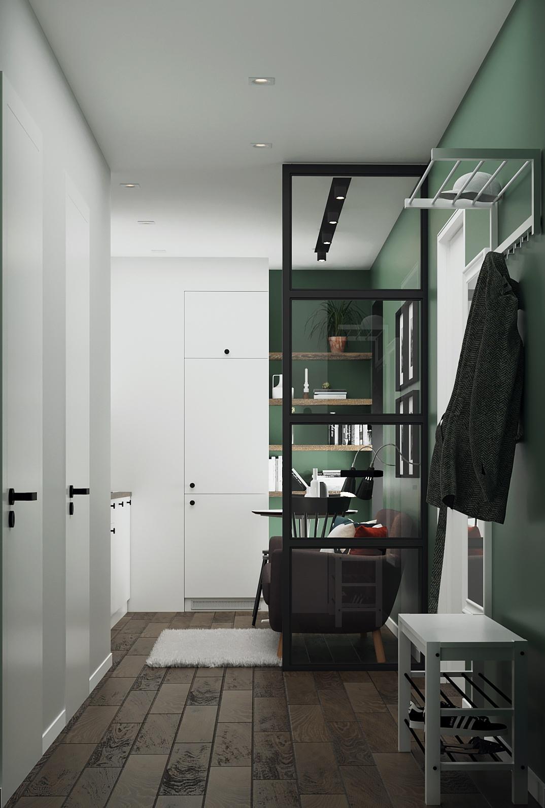 Дизайн-проект квартиры с кухней-гостиной и небольшой спальней в Санкт-Петербурге, 30 м2.