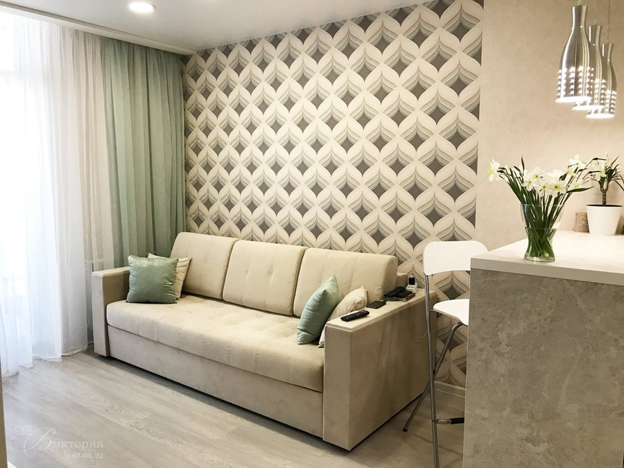 Интерьер квартиры-студии почти 25 м (с лоджией - 28 м) в Петрозаводске.