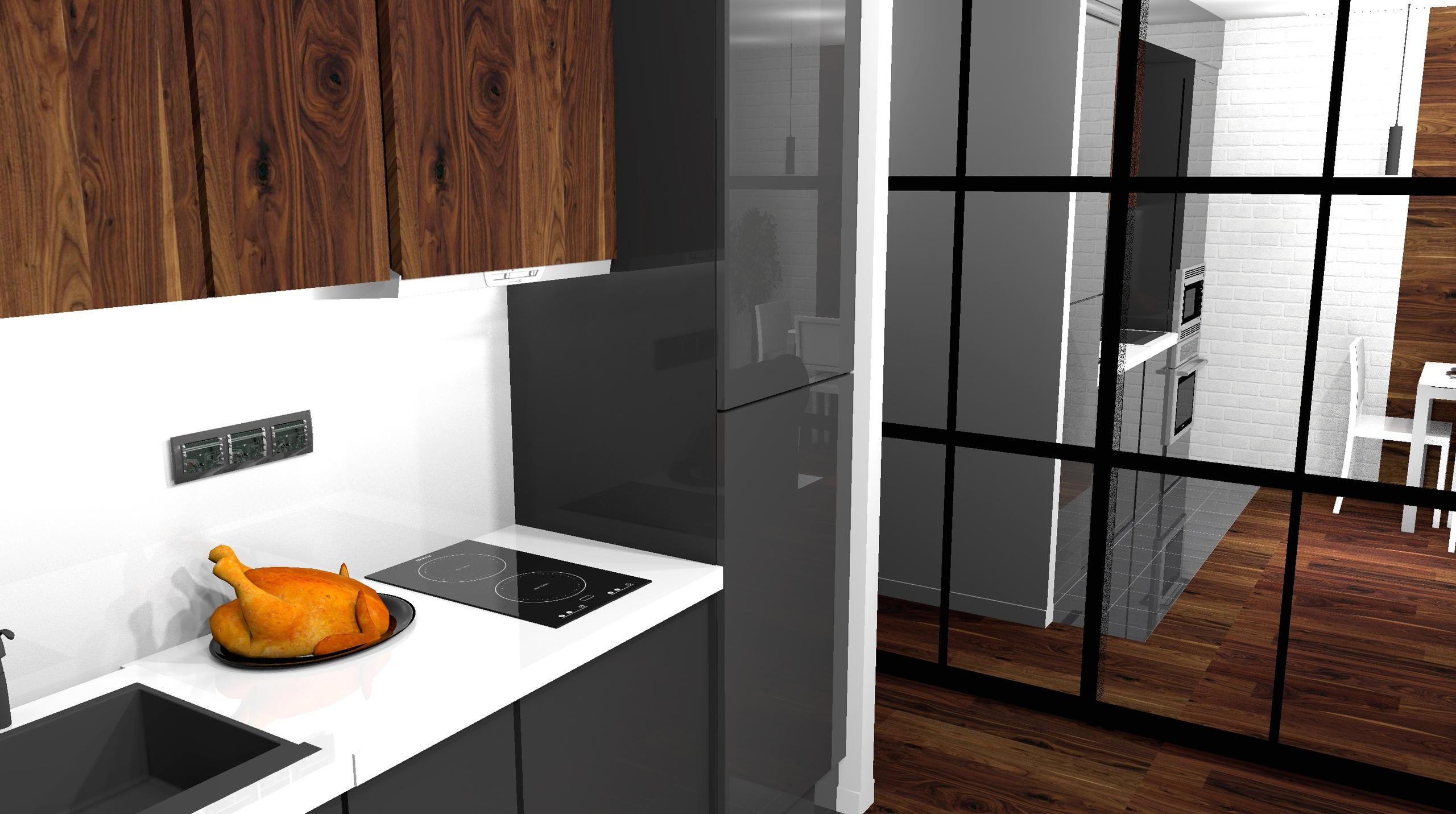 Дерево махагон + графит + зеркала, проект квартиры-студии 28.