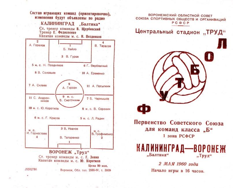 1960 год. Лицевая сторона программки матча в Воронеже