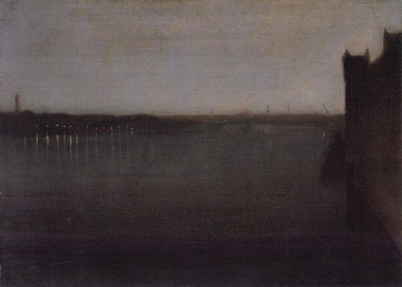 Фото 7. Джеймс Уистлер. Ноктюрн в сером и золотом — Вестминстерский мост. 1874.