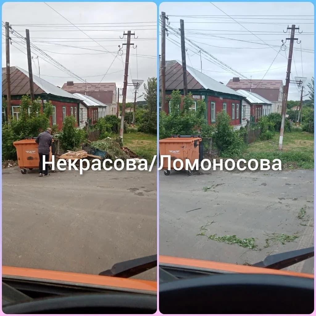 В Петровске коммунальная организация продолжает ликвидировать стихийные свалки около мусорных контейнеров, установленных на городских улицах