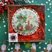 Новогодние часы, подарок в коробке. Пряник медово-имбирный расписной.