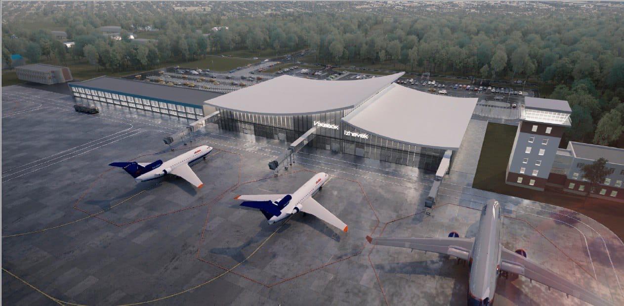 На фото - макет нового здания терминала
