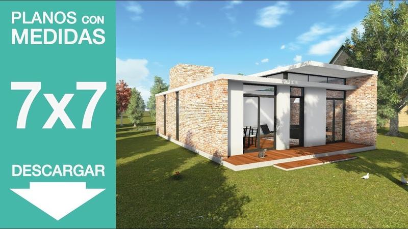 Casa 7x7. Planos recorrido 3d. 7x7. 2 bedrooms house plans
