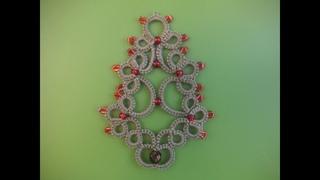 16' TUTORIAL ALBERO DI NATALE CHIACCHIERINO AD AGO TREE CHRISTMAS NEEDLE TATTING Frivolitè фриволите