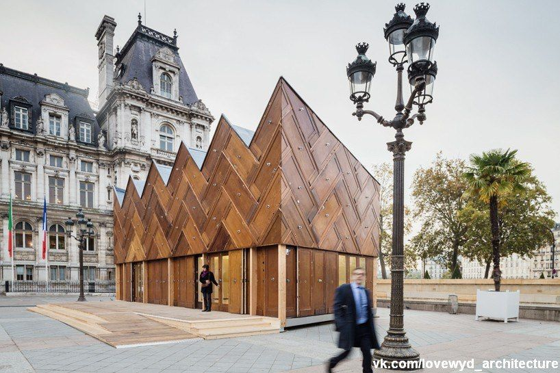 designed by encore heureux architects, this temporary structure in paris is an experimental project built using reused materials