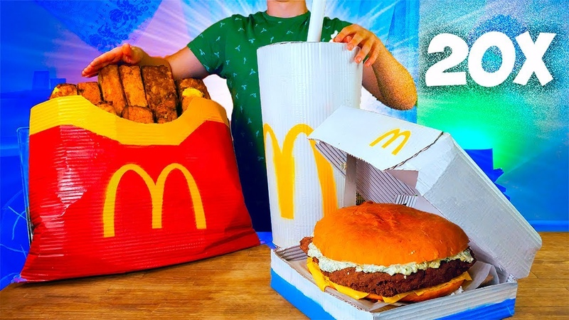 УВЕЛИЧИЛИ МЕНЮ McDonald's в 20 раз ОГРОМНАЯ КАРТОШКА ФРИ ГИГАНТСКИЙ ФИЛЕ-О-ФИШ КОКА-КОЛА
