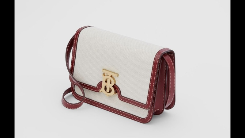 BURBERRY Small Two-tone Canvas and Leather TB Bag 버버리 스몰 투톤 캔버스 가죽 TB 백 레드 80271781 バーバリー