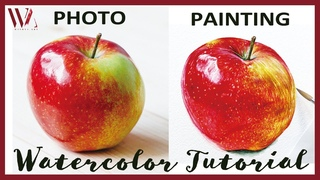 How to paint a Realistic Apple in watercolor- Realistic Fruit Painting Tutorial- Windy Shih