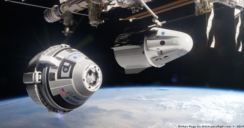 Будущее. Crew Dragon и Starliner у МКС. Фантазия художника.